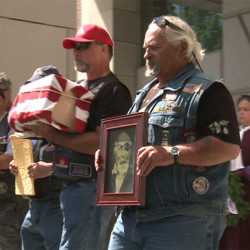 Members of the Patriot Guard Riders motorcycle group brought the ashes of Civil War soldier Pvt. Jewett Williams back to his home state of Maine.