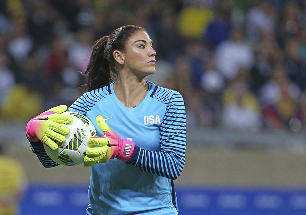 U.S. goalkeeper Hope Solo takes the ball during a match against New Zealand in Belo Horizonte, Brazil., on Aug. 3. U.S. Soccer says her comments about Sweden's team were
