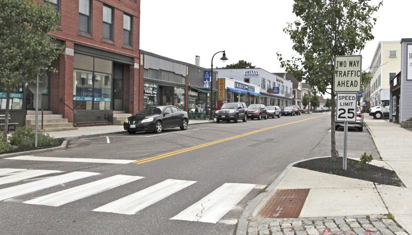 Ocean Street in South Portland, in its current, two-way configuration. View is from Legion Square toward D Street.