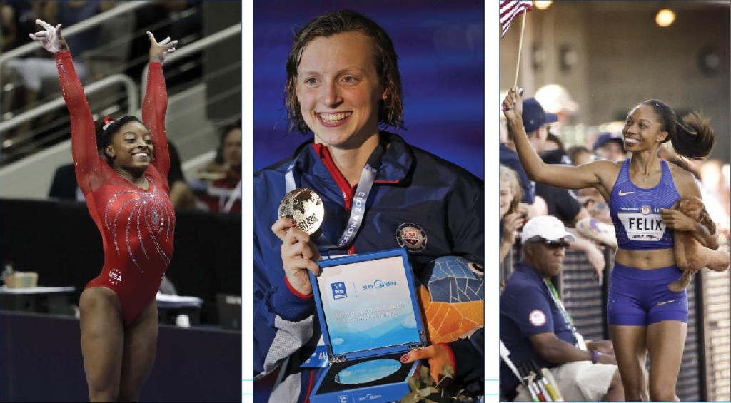 Gymnast Simone Biles, left, has won every world and Olympic title since 2011. Swimmer Katie Ledecky has  the 11 fastest times in the world in the 800 freestyle. Allyson Felix is making her fourth Olympic appearance and has four gold medals.   The Associated Press