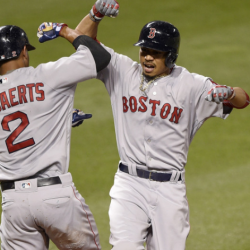 Boston's Mookie Betts celebrates his three-run home run with Xander Bogaerts during the fifth inning.    Associated Press/Nick Wass