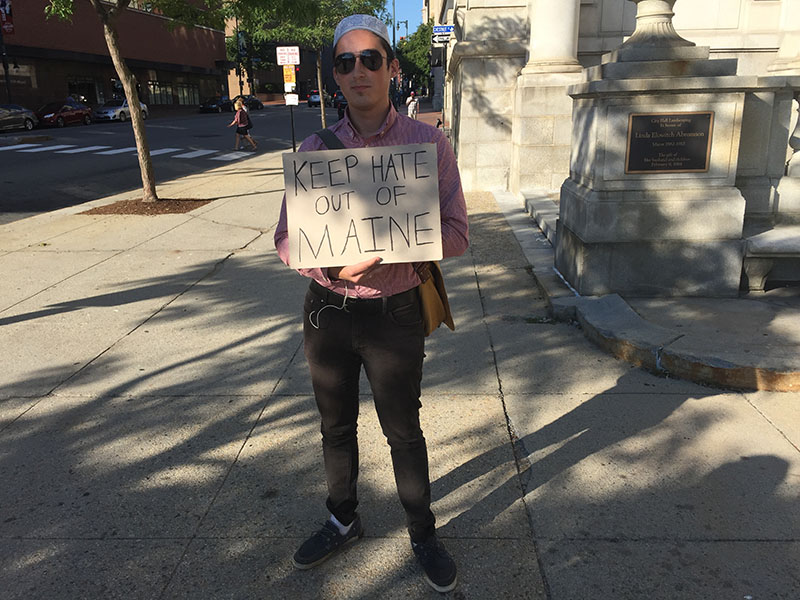 Anthony Marvin, of Portland, an early protester, outside of City Hall Thursday morning.