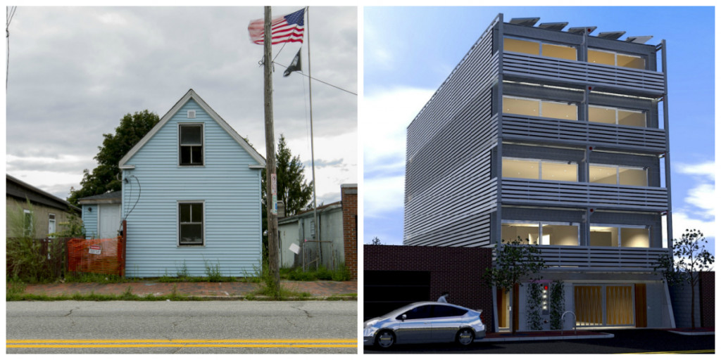 Left: The home currently at 180 Washington Ave. Right: The proposed condo building.