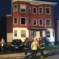 Firefighters remained on the scene at 732 Forest Ave. for several hours Tuesday morning to investigate the cause of a fire that started in a storage in the rear of the building. Photo courtesy of WCSH