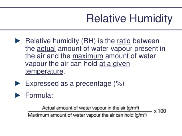 Calculating relative humidity uses a simple formula