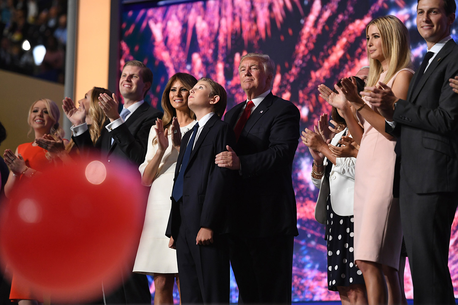 Donald Trump celebrates with his family after giving his nomination acceptance speech at the Republican National Convention on July 21.