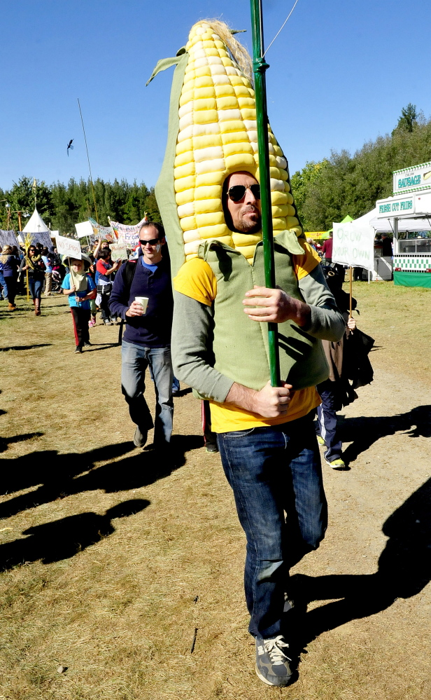 Dave Halstead is dressed as an ear of corn as he marches in the Garden Parade at the 2014 Common Ground Country Fair in Unity.