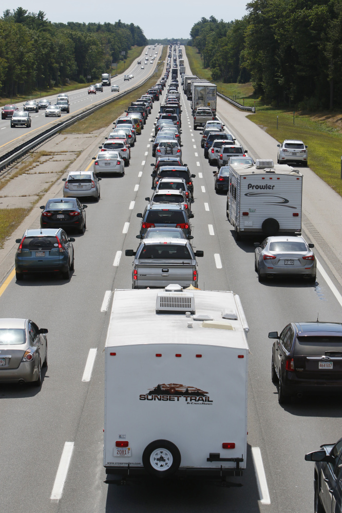Southbound drivers fill the lanes of the Maine Turnpike in Wells on Monday as the Labor Day weekend comes to a close. By 1:30 p.m., stop-and-go traffic was reported on the 20-mile stretch between Wells and the New Hampshire border.