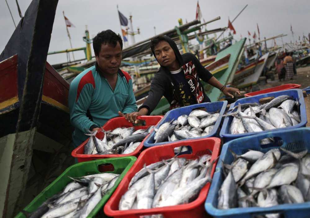 Fishermen unload their catch from boats at a port in Indonesia, where virtual slaves enable an entire industry.