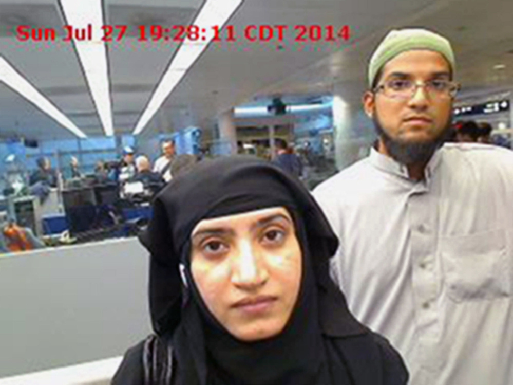 FILE - In this July 27, 2014 file photo provided by U.S. Customs and Border Protection shows Tashfeen Malik, left, and her husband, Syed Farook, at O'Hare International Airport in Chicago. For a crisis counselor who lost a loved one in the San Bernardino terrorist attack, the last six months have been a journey on the other side of crisis. Mandy Pifer's boyfriend, Shannon Johnson, was one of the 14 people killed in the December 2015 mass shooting by Malik and Farook. (U.S. Customs and Border Protection via AP, File)