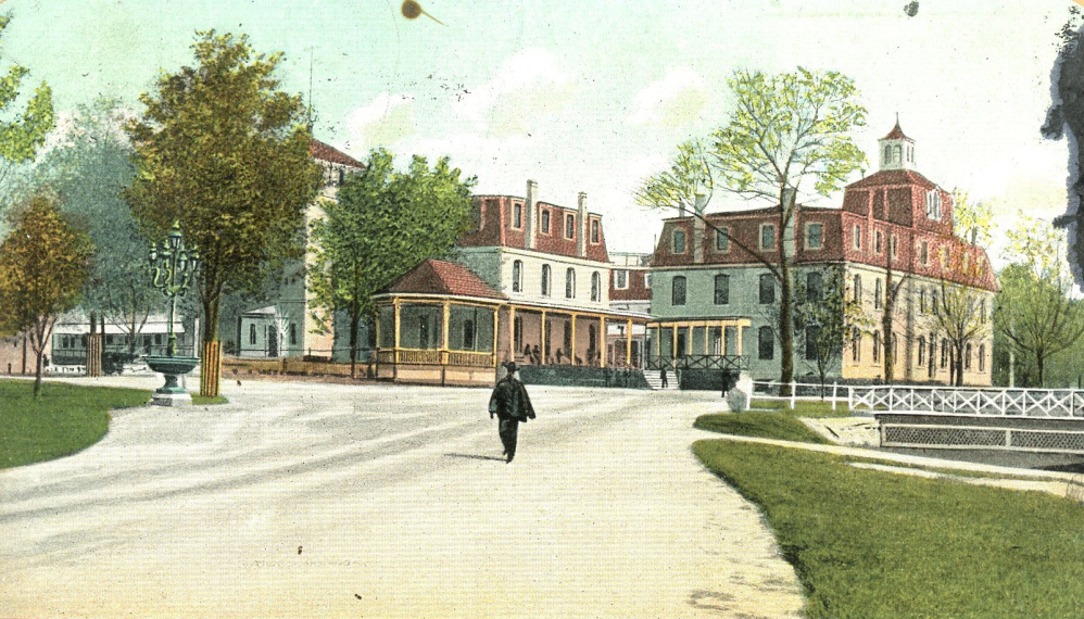 The barracks at what was called the National Home for Disabled Volunteer Soldiers at Togus are depicted on a postcard from the early 1900s.