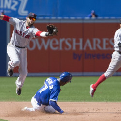 Toronto's Melvin Upton Jr. successfully steals second base beneath Boston second baseman Dustin Pedroia, left, during fourth inning in Toronto on Saturday. The Blue Jays won, 3-2.