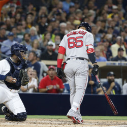 Boston's Yoan Moncada heads back to the dugout after taking a third strike in a game at San Diego last week. Moncada struck out in his final eight plate appearances on the road trip. (AP Photo/Lenny Ignelzi)