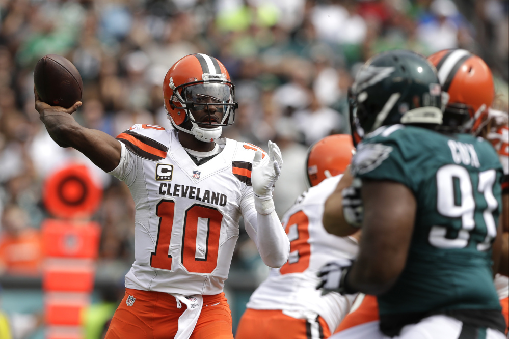 Cleveland Browns' Robert Griffin III passes during the first half of an NFL football game against the Philadelphia Eagles.