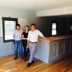 Scott Dugas, left, is leasing the space at 365 Main St. in Yarmouth to Caitlin Henningsen, center, and Sean Ireland to open Owl & Elm.