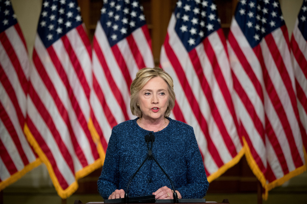 Hillary Clinton speaks at the Historical Society Library in New York on Sept. 9.
