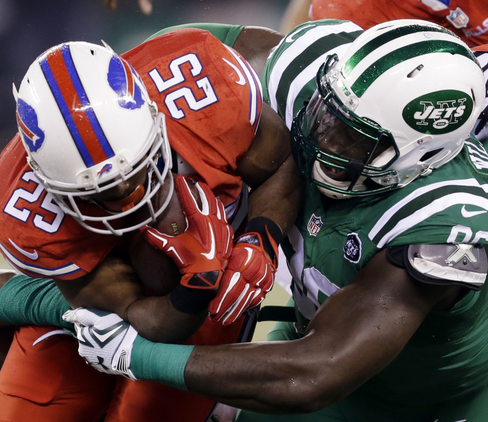 On Thursday, the Jets will wear white, the Bills red to avoid confusion for colorblind viewers who had issues last year when the Jets wore green, the Bills red.