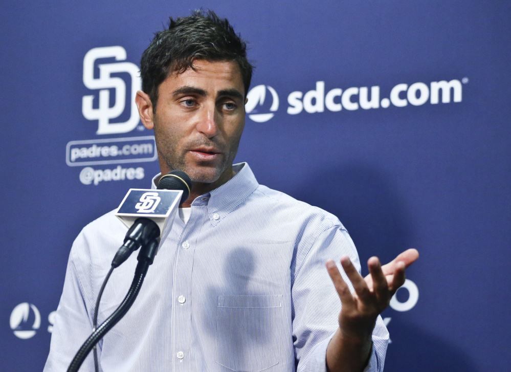 San Diego Padres General Manager A.J. Preller answers questions about the trading of all-star pitcher Drew Pomeranz to the Boston Red Sox on July 15.