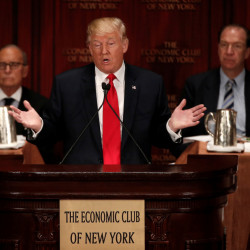 Donald Trump speaks to the Economic Club of New York Thursday after a stop in Ohio where he suggested he'll stick with his positions even as he tries to expand his outreach.