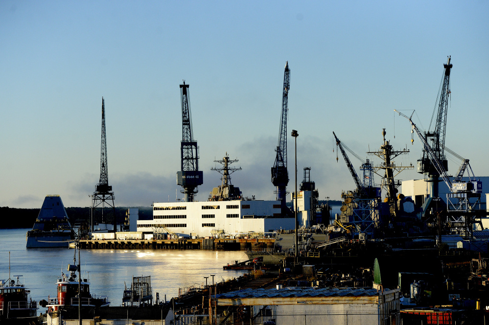 Bath Iron Works, photographed in 2016, is one of only two shipyards in the United States that builds destroyers for the Navy.