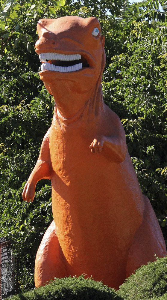 The 20-foot-tall dinosaur in Saugus, Mass., will be installed at a new hotel at the site.
