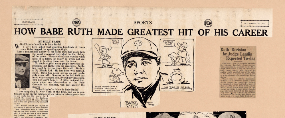 A page from the Babe Ruth scrapbooks now online.