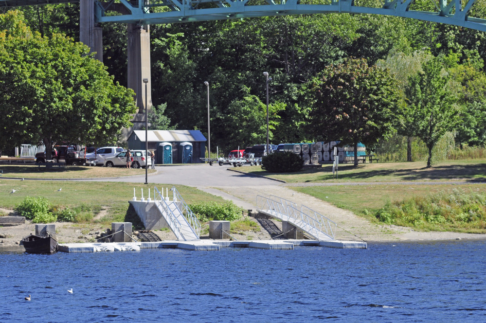 The East Side Boat Landing in Augusta, near where Sean Scanlon pulled a boy out of the Kennebec River on Friday evening.