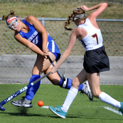 Kennebunk's Allie Gregoire drives a pass past Emi Logue of Cape Elizabeth. Kennebunk improved its record to 4-2 and snapped a two-game winning streak for Cape Elizabeth, which dropped to 2-3.