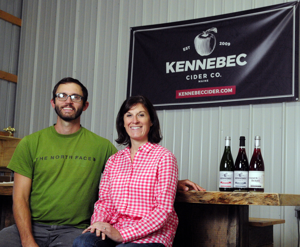 Nathan and Megan Hall of Kennebec Cider Co. in East Winthrop sell their hard cider in stores across Maine.