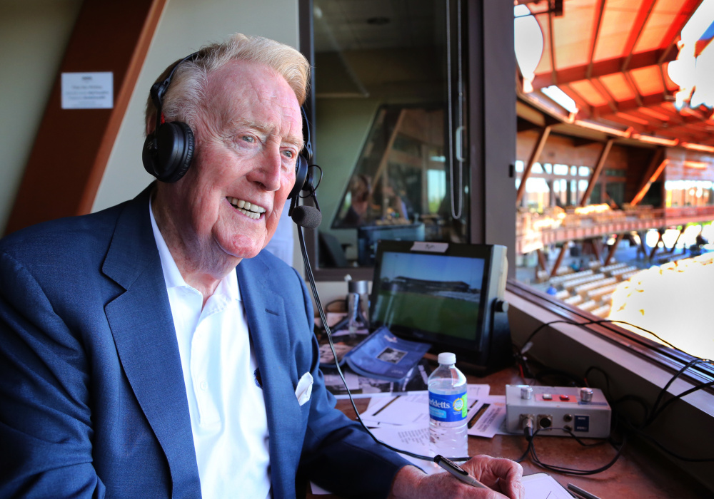 Think of it. Vin Scully was on the air describing the exploits of Jackie Robinson, Duke Snider, Gil Hodges and the other Brooklyn Dodgers. He was in the majors before Willie Mays. Now, at age 88, Scully will call it a career.