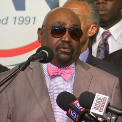 In this image taken from video, The Rev. Joey Crutcher, father of Terence Crutcher, speaks to the media at the National Action Center in New York on Wednesday. Terence Crutcher was shot and killed by a Tulsa, Oklahoma police officer on Friday.