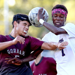 Gorham's Tyler Richman and Deering's Lounge Turahimbawe during the team's scoreless tie Thursday at Deering High School.