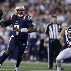 Jacoby Brissett lead the Patriots to a victory Thursday night against the Houston Texans but his status for the Patriots' next game, on Oct. 2 against Buffalo, is in question after he suffered an injury to his right thumb.