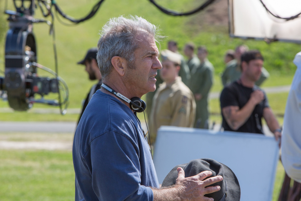 """Director Mel Gibson on the set of """"Hacksaw Ridge"""" released by Summit Entertainment. (Mark Rogers/Lionsgate/TNS)"""