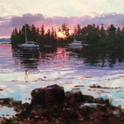 """Warren Island Moorings,"" by Monique Lazard, oil on canvas, 16 by 20 inches"