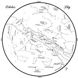 SKY GUIDE: This chart represents the sky as it appears over Maine during October. The stars are shown as they appear at 10:30 p.m. early in the month, at 9:30 p.m. at midmonth and at 8:30 p.m. at month's end. Mars is shown in its midmonth position. To use the map, hold it vertically and turn it so that the direction you are facing is at the bottom.