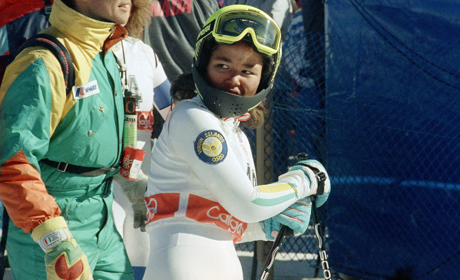 Seba Johnson checks her time after a run in the 1988 Winter Olympics in Calgary. Johnson was just 14, the youngest skier and the first black female Alpine skier to compete in the Olympics.