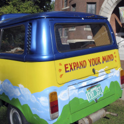 "A vintage Volkswagen van sits outside the Vermont History Center in Barre to promote ""Freaks, Radicals & Hippies,"" a new exhibit about counterculture in the state during the 1970s."