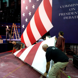 The stage will soon be set at Hofstra University for the initial confrontation between Hillary Clinton and Donald Trump – an event that could be watched by over 100 million.