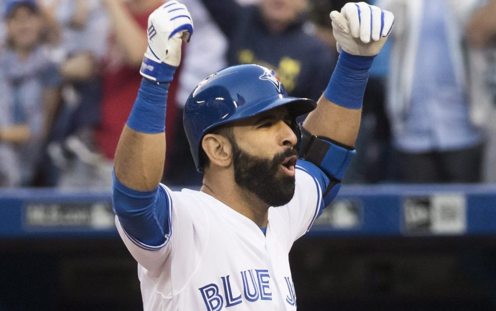Jose Bautista of the Toronto Blue Jays celebrates Saturday after hitting a three-run homer – the only runs in a 3-0 victory against the New York Yankees.
