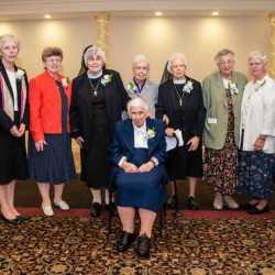 """Sisters of Mercy celebrated nearly 600 years of combined service to the people of Maine during a recent gathering honoring their jubilees this year. Pictured are (seated) Sister Anastasia Skwara, (standing, from left) Sister Barbara Brennan, Sister Miriam Therese Callnan, Sister Mary Gemma Connelly, Sister Elizabeth """"Betty"""" Kilbride, Sister Mary Denis Schwartz, Sister Claudia Barbre, Sister Ruth Conlogue, and Sister Edward Mary Kelleher."""
