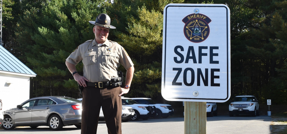 Franklin County Sheriff Scott Nichols stands in the safe zone in Farmington on Thursday.