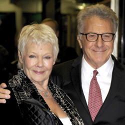 "Judi Dench and Dustin Hoffman arrive at the screening of ""Roald Dahl's Esio Trot: Deleted Scenes"" in London in November 2014."
