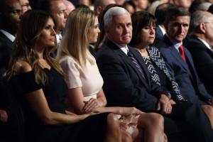 Republican vice presidential candidate Mike Pence, center, waits for the start of the debate. From left are Melania Trump, Ivanka Trump, Pence, Karen Pence and retired Gen. Michael Flynn.