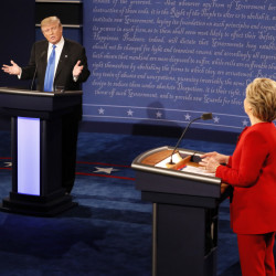 Donald Trump gestures toward Hillary Clinton during the presidential debate Monday night at Hofstra University.