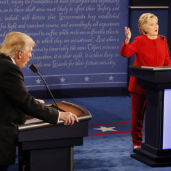 Donald Trump and Hillary Clinton speak at the same time during their contentious presidential debate at Hofstra University.