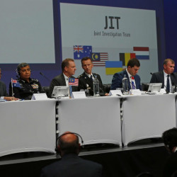 The Joint Investigation Team (JIT) prepare to speak on the preliminary results of the investigation into the shooting-down of Malaysia Airlines jetliner flight MH17 during a press conference in Nieuwegein, Netherlands, Wednesday, Sept. 28, 2016. The disaster claimed 298 lives.
