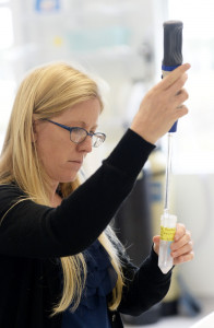 At ViroStat's lab in Westbrook, Amber McAllister fills vials holding antibodies that could be used in new diagnostic tests for Zika to get faster results.