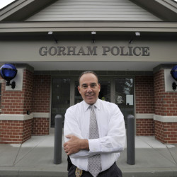 Gorham police chief Dan Jones stands outside the new public safety building. He believes morale is great now because it's easier for officers to get their work done.