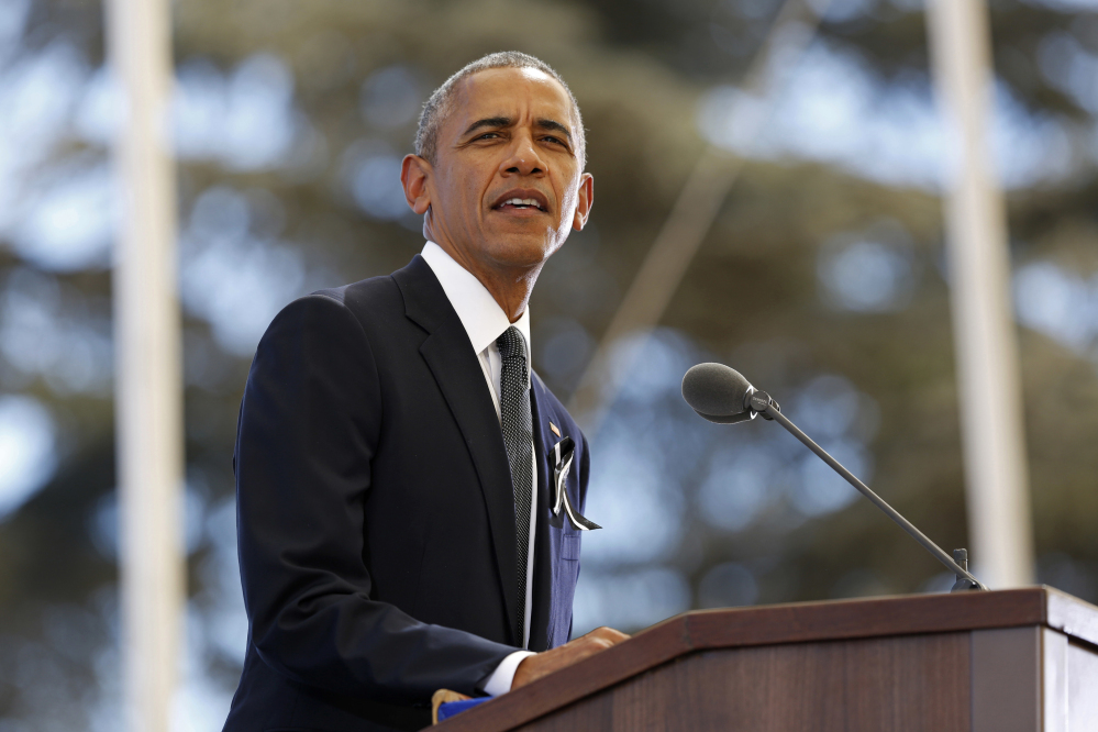 U.S. President Barack Obama delivers his eulogy of former Israeli President Shimon Peres during his funeral, at Mt. Herzl Military Cemetery in Jerusalem, Israel, Friday, Sept. 30, 2016.